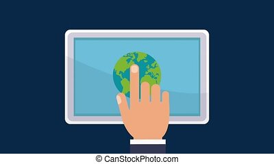 Hand touching laptop HD animation