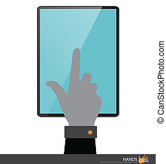 Hand touching on tablet pc. Vector illustration.