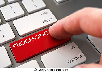 Hand Pushing Red Processing Aluminum Keyboard Button. 3D Illustration.