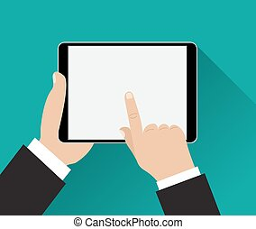 Hand touching screen of black tablet