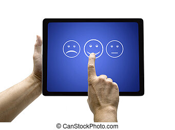 Hand touching screen with customer service evaluation form...