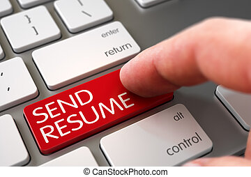 Hand Touching Send Resume Key. 3D.