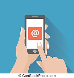 Hand touching smart phone with Email symbol on the screen....