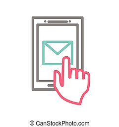 Hand touching smart phone with Email symbol on the screen. Using smartphone