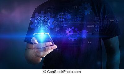 Hand touching smartphone interface virtual screen.