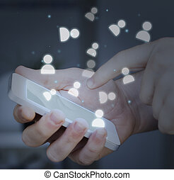 hand touching smartphone. social media concept.