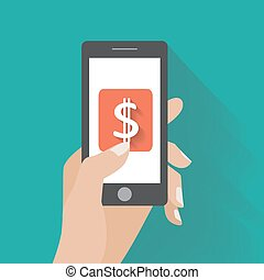 Hand touching smartphone with dollar sign on the screen