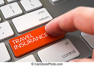 Finger Pushing Travel Insurance Button on Aluminum Keyboard. Business Concept - Male Finger Pointing Travel Insurance Key on Laptop Keyboard. 3D Illustration.
