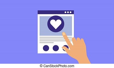 hand touching website page love heart
