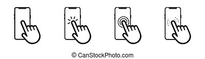 Hand touchscreen smartphone icon. Click on the smartphone. Vector illustration isolated on white background