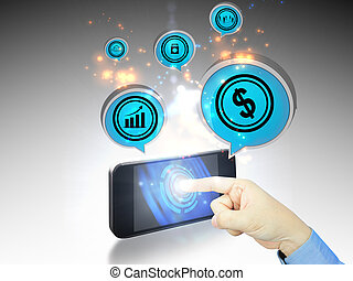 hand Touchscreen Smartphone with business Icons