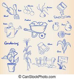 hand, trädgårdsarbete, ikon, sätta, oavgjord