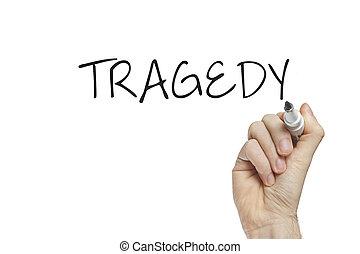 hand, tragedie, schrijvende