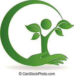 Hand tree care logo