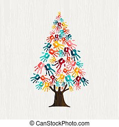 Hand tree concept for people community help