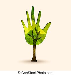 Hand tree green environment help illustration