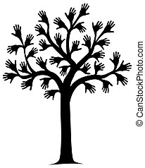 Illustration of a tree outline with hands for leaves