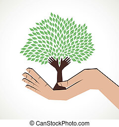 hand tree in hand