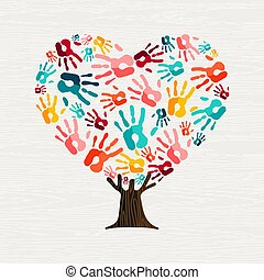 Hand tree in heart shape for love concept