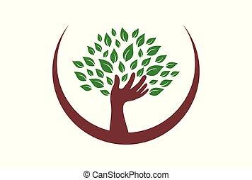 hand tree logo logo