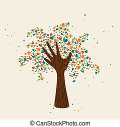 Hand tree love symbol for community help