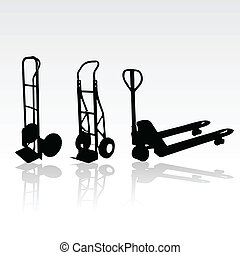 hand trolley vector silhouettes