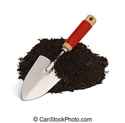 Hand Trowel - Pile of Dirt with Shovel Isolated on White...