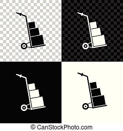 Hand truck and boxes icon isolated on black, white and transparent background. Dolly symbol. Vector Illustration