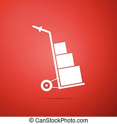 Hand truck and boxes icon isolated on red background. Dolly symbol. Flat design. Vector Illustration
