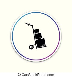 Hand truck and boxes icon isolated on white background. Dolly symbol. Circle white button. Vector Illustration