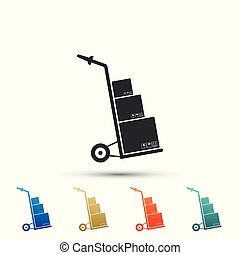 Hand truck and boxes icon isolated on white background. Dolly symbol. Set elements in color icons. Vector Illustration