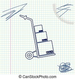 Hand truck and boxes line sketch icon isolated on white background. Dolly symbol. Vector Illustration