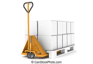 Hand truck and pallet - Hand truck and pallet, isoladet on...