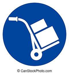 hand truck circle icon