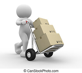 Hand truck - 3dpeople icon with hand trucks and cargo boxes-...
