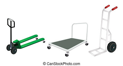 Hand Truck, Dolly and Pallet Truck on White Background - An...