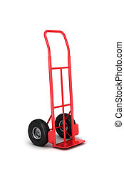 Hand truck - Empty red hand truck isolated over white...