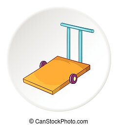 Hand truck icon, cartoon style