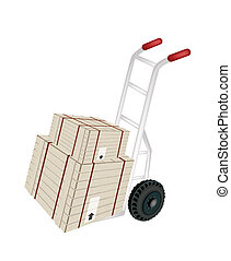 Hand Truck Loading Shipping Boxes with Steel Strapping -...