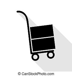 Hand truck sign. Black icon with flat style shadow path.