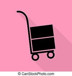Hand truck sign. Black icon with flat style shadow path on pink background.