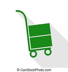 Hand truck sign. Green icon with flat style shadow path.