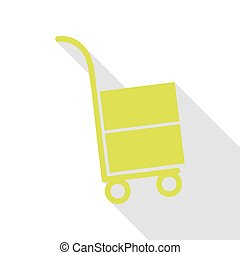 Hand truck sign. Pear icon with flat style shadow path.