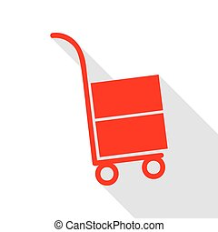 Hand truck sign. Red icon with flat style shadow path.