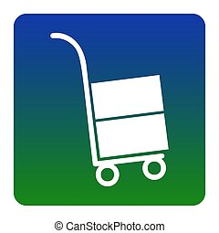 Hand truck sign. Vector. White icon at green-blue gradient square with rounded corners on white background. Isolated.