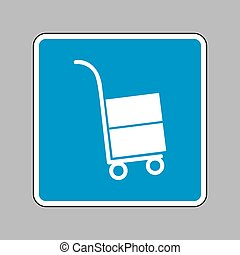 Hand truck sign. White icon on blue sign as background.