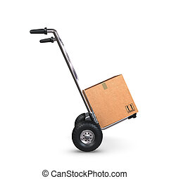 A tilted Hand-Truck with a cardboard box on white background.
