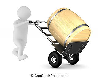 hand truck with barrel on white background. Isolated 3D illustration