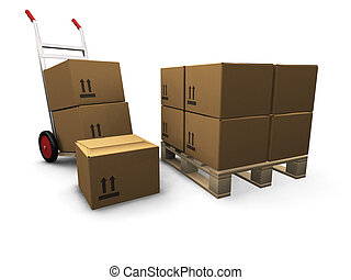 Hand truck with boxes - 3D render of a hand truck and a...