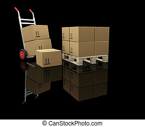 3D render of a hand truck and stacks of boxes